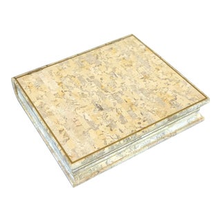 1980s Maitland Smith Book-Shaped Box Clad in Tessellated Stone For Sale