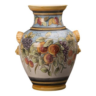 Vintage Italian Hand Painted Terra Cotta Vase For Sale