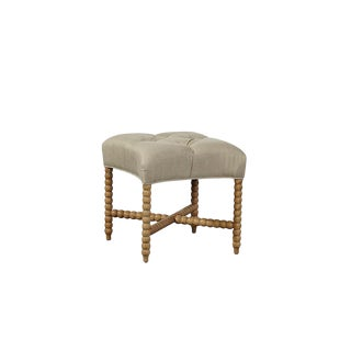 Tufted Linen Stool For Sale