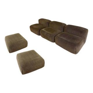 1970s Mario Bellini 'Le Mura' Modular Sofa in Mohair Velvet by Cassina For Sale