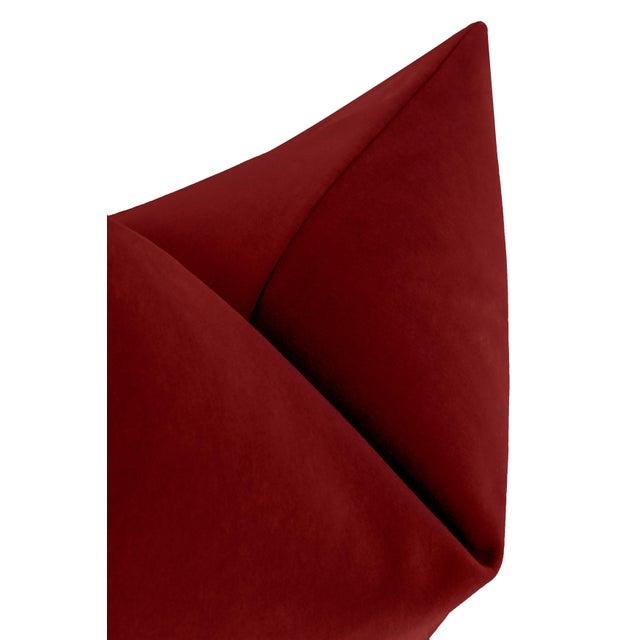 """22"""" Crimson Italian Velvet Pillows - a Pair For Sale - Image 4 of 5"""