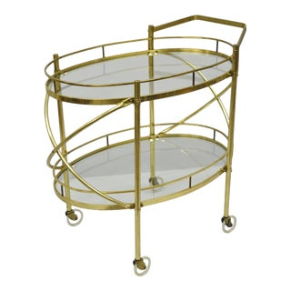 Mid-Century Modern Two Tier Brass & Glass Oval Bar Cart Serving Trolley Table