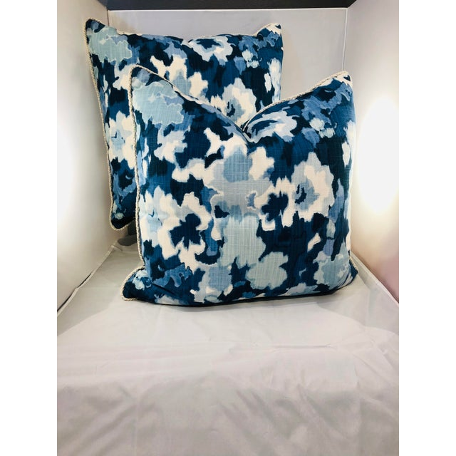 "A beautiful pair of 20"" square large scaled abstract pillows from Robert Allen Fabrics. Made from printed cotton, with a..."