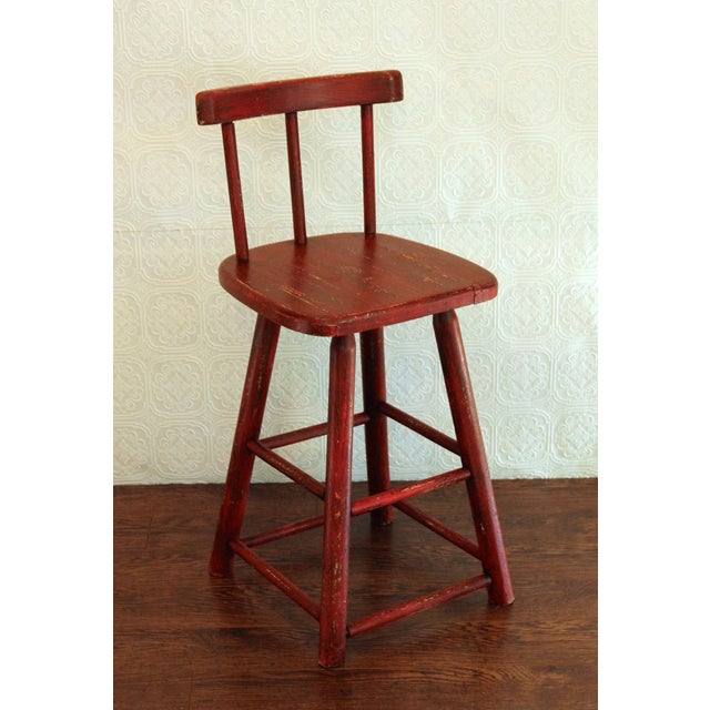 Rustic Red Stool - Image 2 of 3
