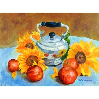 Apples & Sunflowers Still Life Painting For Sale