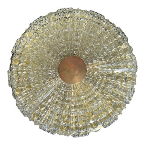 Orrefors Pressed Glass Flush Mount by Carl Fagerlund For Sale