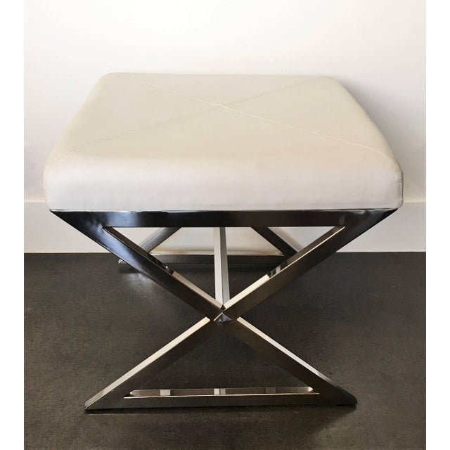 Milo Baughman Pair of Chrome X-Base Stools in the Manner of Milo Baughman For Sale - Image 4 of 6