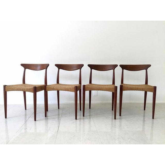 Mid-Century Modern Arne Hovmand Olsen Teak Dining Chairs -Set of 4 For Sale - Image 3 of 10