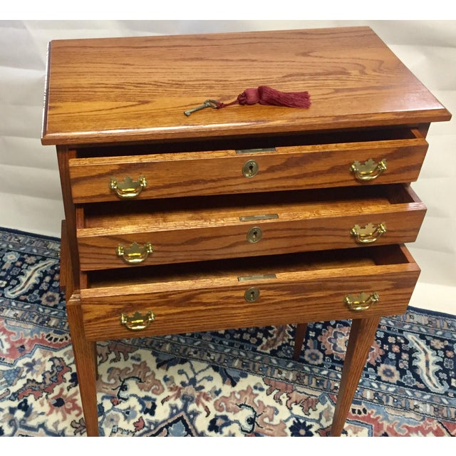 Stunning Tom Seely Solid Wood 3-Drawer Standing Chest For Sale - Image 4 of 13