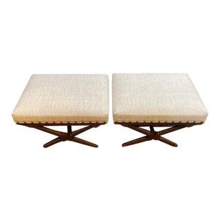 Palecek Barley Twist Linen Seating Ottomans - a Pair For Sale