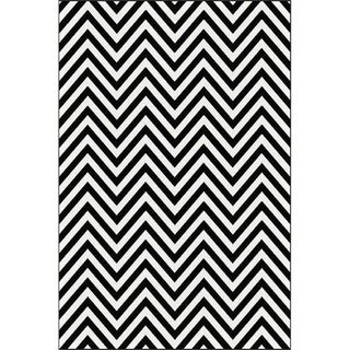 CHEVRON BLACK & WHITE RUG 6'8''X 10'