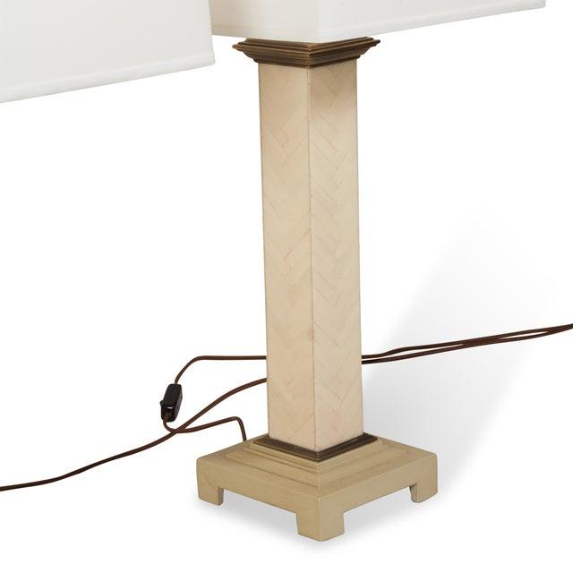 Maitland-Smith Chevron Column Lamps - A Pair - Image 5 of 8