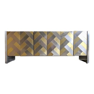 80s Contemporary Ello Brass Herringbone Dresser / Credenza For Sale