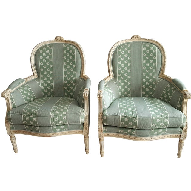 Louis XV Style Bergere Chairs - Pair - Image 1 of 5