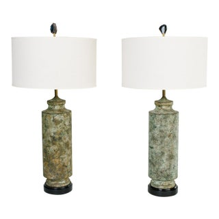 Pair of Mid Century Modern Oxidized Metal Brutalist Lamps