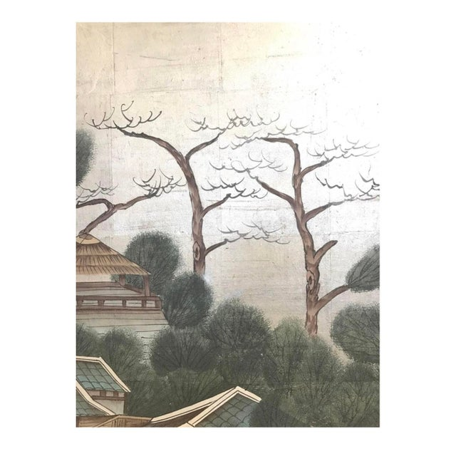 Vintage Chinese Hand Painted-Folding Screen Room Divider For Sale In New York - Image 6 of 7