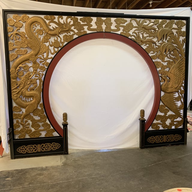 Room Size Wood Carved Chinese Moon Gate For Sale - Image 13 of 13