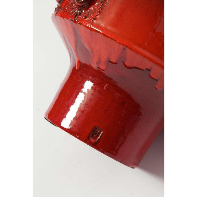 Large Red Ceramic Amphora Vase,Belgium ,1960s For Sale - Image 6 of 10