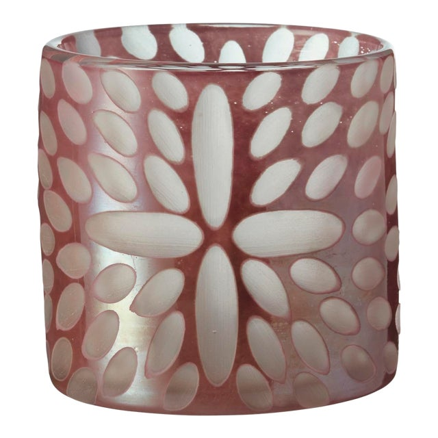 OKA Bukva Glass Candle Holder in Pink For Sale