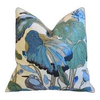 "Gp & J Baker Nympheus Floral Botanical Linen Feather/Down Pillow 26"" Square For Sale"