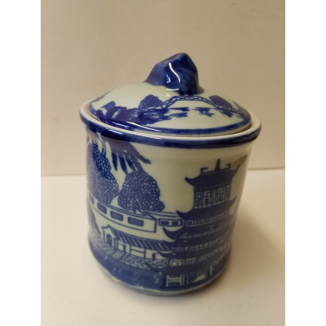 Asian Chinese Blue Willow Ironstone Covered Jar For Sale - Image 3 of 5