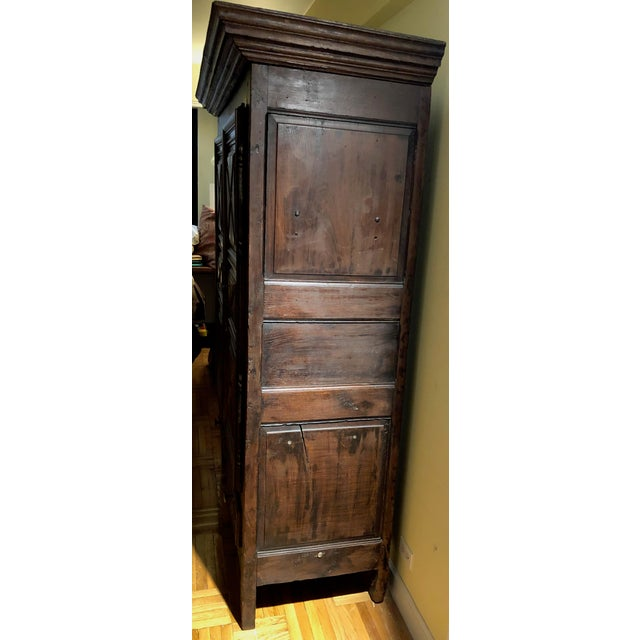 Antique French Louis XIII Raised Croisillons Motifs Armoire For Sale - Image 4 of 9