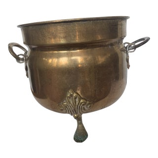 Vintage Hand-Forged Solid Brass Footed Cache Pot For Sale