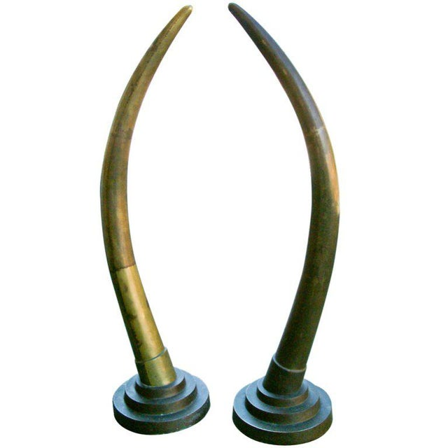 Circa 1970, Contemporary, Yellow, Bronze, Elephant Tusks - a Pair For Sale In Richmond - Image 6 of 6