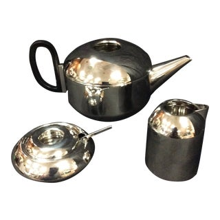 Mid-Century Modern Tom Dixon Stainless Steel 3 Piece Tea Set For Sale