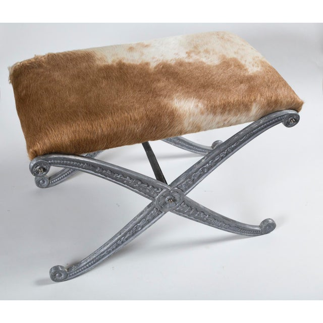 Neoclassical 20th Century Neoclassic X-Frame Upholstered Benches - a Pair For Sale - Image 3 of 12