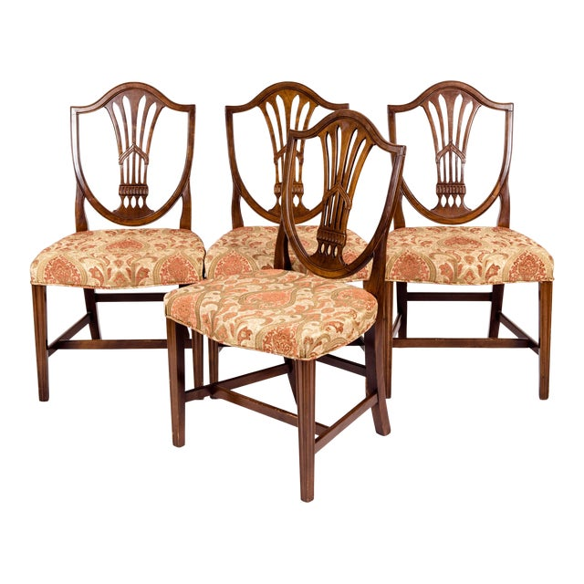 Solid Mahogany Wood Shield Back Dining Chairs - Set of 4 For Sale