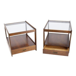 Pair of Rectangular Cube Shape Smoked Glass Tops End Tables For Sale
