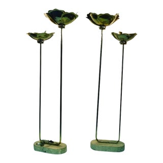 Pair of Rare Flower Form Tommaso Barbi Floor Lamps For Sale