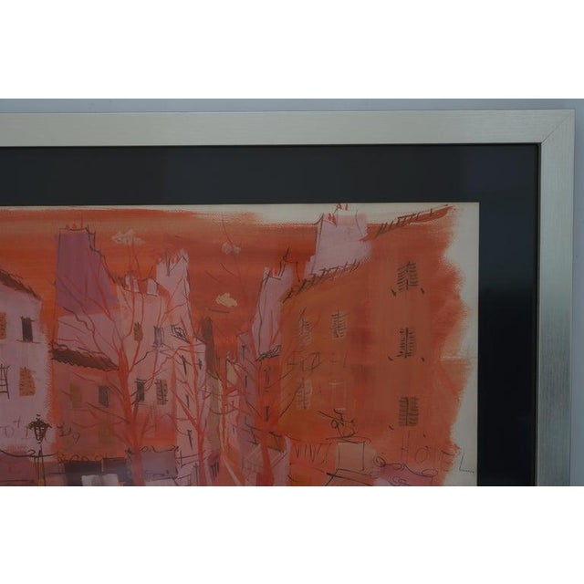 """Mid 20th Century Mid-Century Modern Levier """"Street Scene"""" Gouache and Watercolor Painting Signed in the Painting For Sale - Image 5 of 11"""
