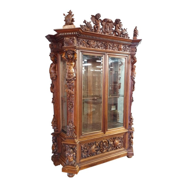 "19th century ""Highly carved"" Italian Renaissance Bookcase bookcase - Image 1 of 10"
