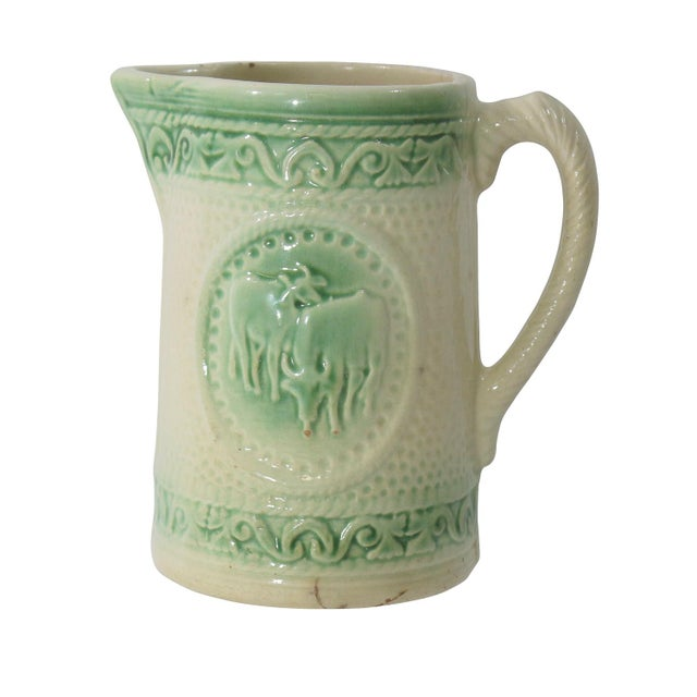 Cottage Antique Ceramic Cow Pitcher For Sale - Image 3 of 9