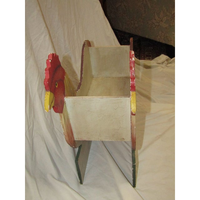 Folk Art Cut Out Rooster Planter For Sale - Image 5 of 5
