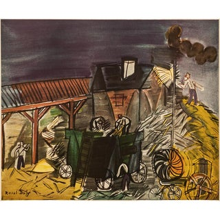 """1954 Raoul Dufy, """"Threshning"""" First Edition Lithograph For Sale"""