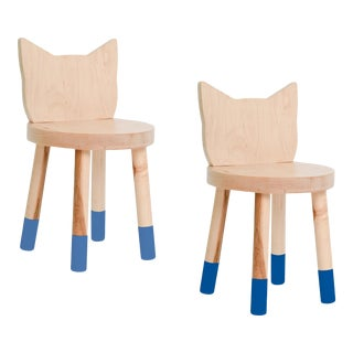 Nico & Yeye Kitty Kids Chair Solid Maple and Maple Veneers Pacific Blue - Set of 2 For Sale