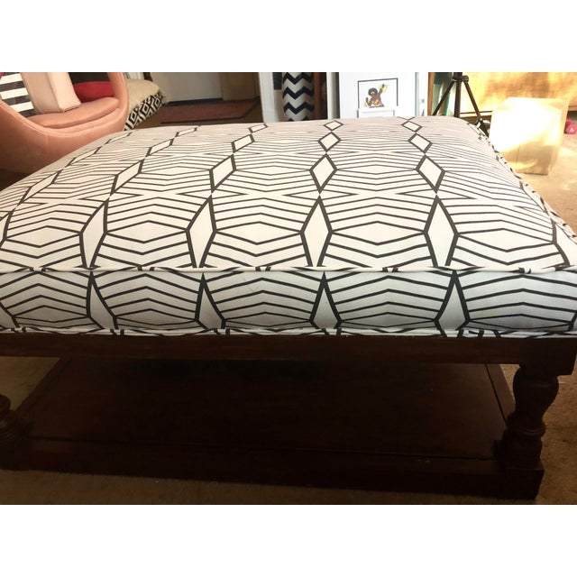 Fabric Tribal Print Upholstered Traditional Ottoman For Sale - Image 7 of 9