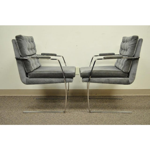 Preview Pair Vintage Mid Century Modern Chrome Steel Cantilever Arm Chairs Baughman Style For Sale - Image 4 of 11