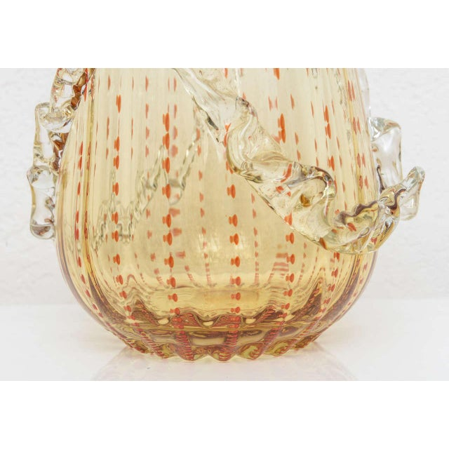 Barovier & Toso Amber and Dark Orange Colored Murano Glass Vase For Sale - Image 10 of 13