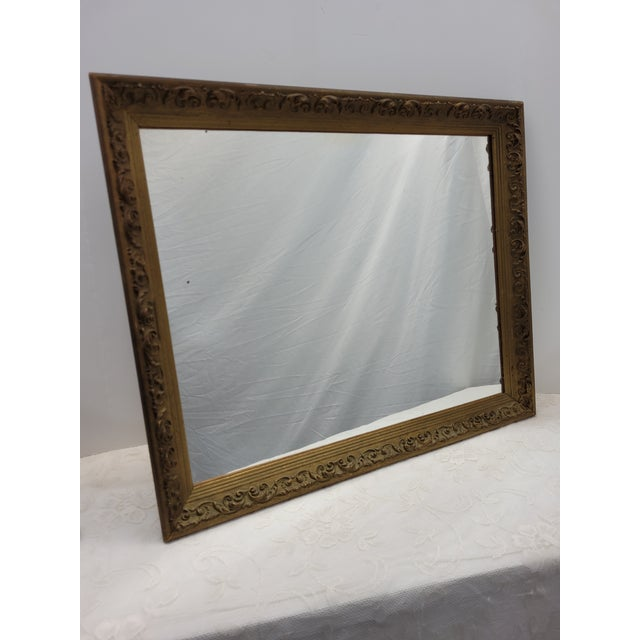 Vintage Gold Ornate Wood Square Wall Mirror Gesso Italian Barque Decorative Victorian Style Beautifully ornate square...