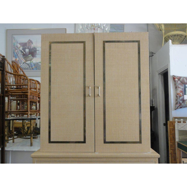 Vintage Linen Wrapped Cabinet - Image 2 of 11