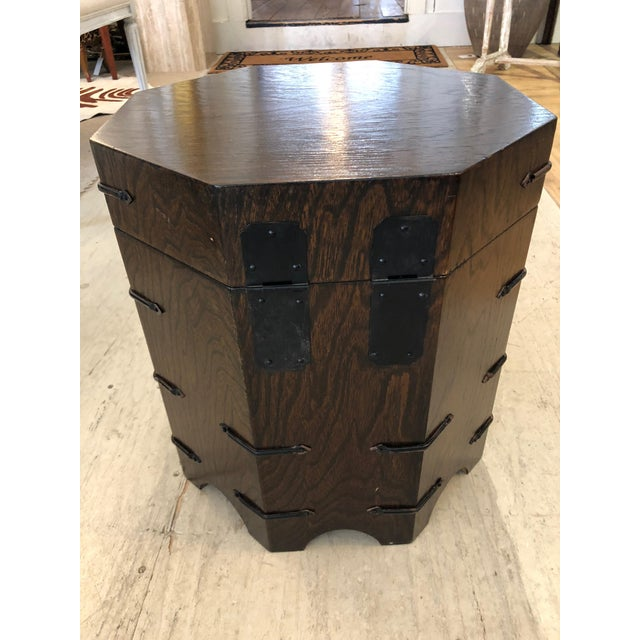 Brown 1950s Asian Dark Wood Octagonal Chest/End Table For Sale - Image 8 of 12