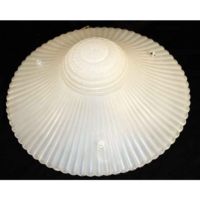Nautical Vintage Milk Glass Hanging Dish Light For Sale - Image 3 of 4