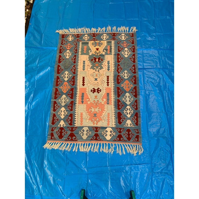 Blue and Coral Kilim Rug- 3′8″ × 5′2″ For Sale - Image 10 of 10