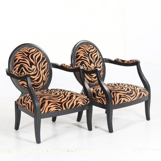 Contemporary Louis XVI Style Oval Back Fauteuil Armchairs With Animal Print For Sale - Image 3 of 7