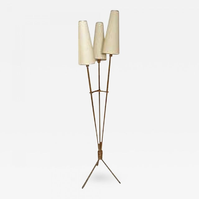 Brutalist Audoux Minet Riviera Style 3 Lights Rope Standing Lamp For Sale - Image 3 of 3