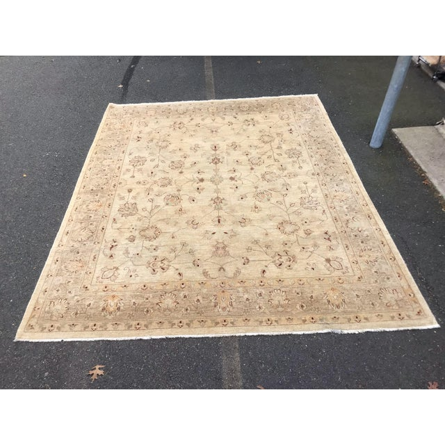 White Muted Lovely Oushak Area Rug For Sale - Image 8 of 8
